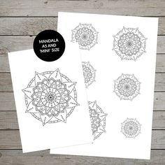 Gorgeous printable hand drawn mandala to use in your bullet journal or planner. Create cover pages, or stickers for your journal. Various sizes are included. Great for bullet journaling or art journaling. #bulletjournal #artjournal #mandala #handdrawnmandala #bulletjournaling #bulletjournalcoverpage #creativejournaling #etsy #printablemandala #mandalaillustration #minimandala