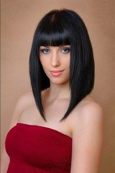Long A line with Bangs
