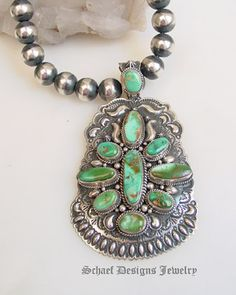 Darryl Becenti artist signed Royston Turquoise & sterling silver pendant on sterling silver oxidized bead necklace || online upscale native american jewelry boutique gallery| Schaef Designs Southwestern turquoise Jewelry |  New Mexico