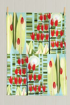'Harakeke' flax print by Holly Roach for Pauanesia