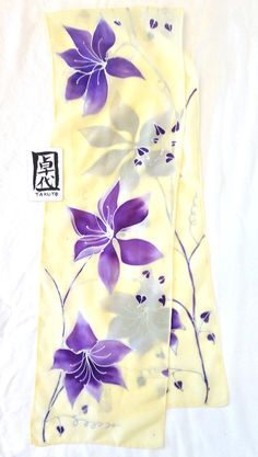 Hand Painted Silk Scarf Purple Clematis Vine, Floral Scarf. Yellow Silk Scarf. Silk Crepe. Approx 7.5x54 inches.