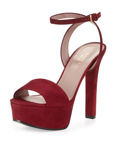 X2V3X Gucci Leila Suede Platform Sandal, Burgundy