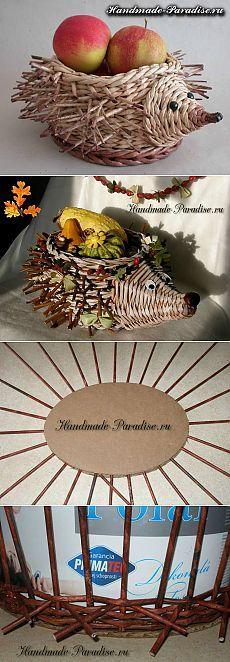 Weave hedgehog from newspaper tubes - Handmade-Paradise