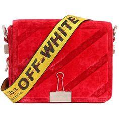 Off White Women Binder Clip Velvet Shoulder Bag (33,765 THB) ❤ liked on Polyvore featuring bags, handbags, shoulder bags, red, red shoulder handbags, red purse, shoulder strap handbags, champagne purse and velvet handbag