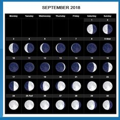 September 2018 Moon Calendar With Events Moon Phase Calendar, Printable Blank Calendar, Lunar Phase, Nature Study, 2021 Calendar, Moon Phases, Full Moon, September, Printables