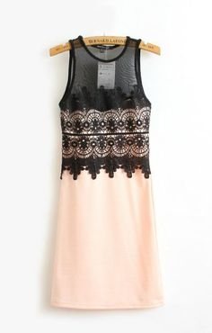 Lace Splicing Sleeveless Sexy Slim Dress $26