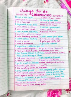 Coronavirus do to list Bullet Journal Notebook, Bullet Journal Ideas Pages, Bullet Journal Inspo, Productive Things To Do, Things To Do At Home, Stuff To Do, Summer Bucket List For Teens, Summer Fun List, Teenage Bucket Lists