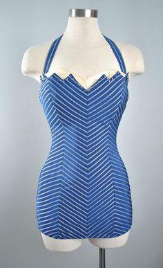 26d0f8501c Vintage Romper   Playsuit Set · Vintage 50s COLE of California Swimsuit   1950s  Navy Blue Pretty Swimsuits