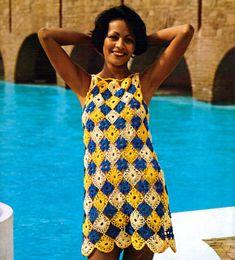 Motif Tunic-  Vintage Crochet Pattern, Summer Dress, Adult Women's Beachwear Swim Coverup,  Summer crochet pattern, PDF InStAnT DoWnLoAd
