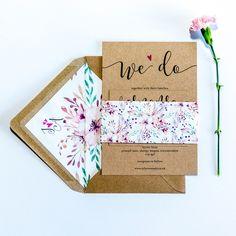 Bespoke Wedding Invitation Sets - non foiled Kraft Wedding Invitations, Bespoke Wedding Invitations, Floral Wedding Invitations, Wedding Stationery, Stationery Design, Design Show, Envelope Liners, Rustic Wedding, Dates