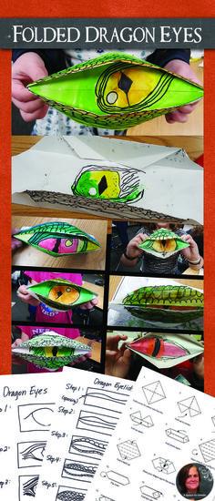 Folded dragon eye art lesson, very engaging lesson for upper elementary kids.