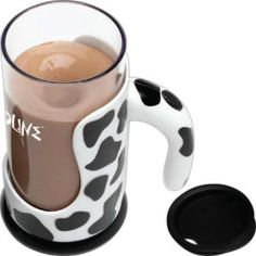 Moo Mixer Supreme (TM) - Battery operated 16 oz. drink mixer with cow pattern.    Battery operated 16oz. drink mixer with cow pattern. Perfect for mixing chocolate milk! It's dishwasher safe and has a detachable base for easy cleaning. Requires two AA batteries (not included). Industries to target: Restaurants, dairy, ice cream parlors, YMCA, campgrounds, hiking, outdoor events and more!