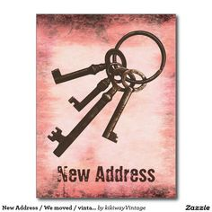 New Address / We moved / vintage rustic key pink Postcard