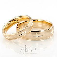exquisite cross carved design wedding ring set - Cross Wedding Rings
