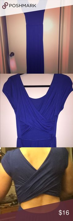 Blue cotton open back, cross-cross back maxi dress Great dress for the beach/pool over your swimsuit or it could even be dressed up for a date. Worn once. If you have a rocking bod, this dress looks stunning. Not like pic of me. I'll have my super-fit friend take a pic in it next time she's over. She tried it on once and the dress transformed. Very stretchy material. Super comfortable. Dresses Maxi