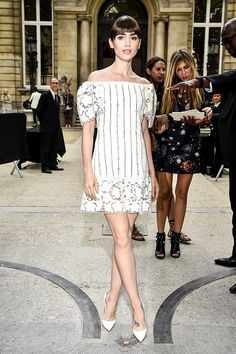 Lily Collins is seen arriving at Valentino Fashion show during Paris Fashion Week Spring/Summer 2017 on October 2 2016 in Paris France