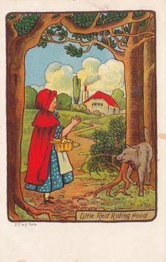 Early 1900s Little Red Riding Hood Art Postcard
