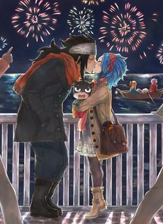 New Year's kiss ♥ http://rboz.tumblr.com/<<<<<<<<< hold up... Natsu on a boat and NOT sick?!?!