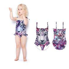 Summer Sling One-piece Quick-drying Baby Girls Swimwear Cute Ice Cream Dot Swim Beach Bathing Kids Toddler Children Swimsuit Swimwear