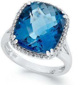 Macy's 14k White Gold Ring, Cushion-Cut London Blue Topaz (9-3/8 ct. t.w.) and Diamond (1/5 ct. t.w.) Ring $1 thestylecure.com