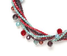 Watermelon, aqua, and plum crystals combine beautifully in Kelsey Lawler's cover necklace.