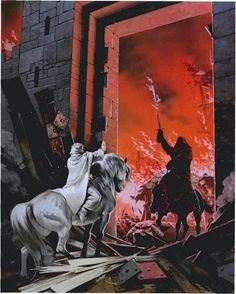 Gandalf keeps the Witch-King at bay at the gates to Minas Tirith: Angus McBride