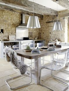 French Farmhouse Kitchen Original Beams Reworked Stone Walls And Floor Modern Liances Decor Domowo Tobias Chair By Ikea