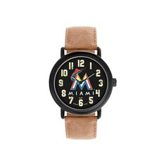 Men's Game Time MLB Throwback Sports Watch - Black - Miami Marlins