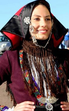 Europe   Portrait of a young woman wearing a traditional headdress, Villagrande Strisaili, Sardinia, Italy #fringe