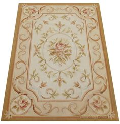 Pastel French Aubusson Area Rug Country Home Decor Flat Weave Carpet