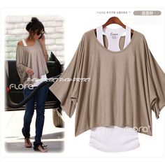 Batwing One Shoulder Poncho WITH Tank Top 7 Color VEST T-SHIRT BLOUSE