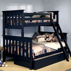 Farmhouse Twin Over Full Bunk Bed : Bunk Beds at PoshTots. I want a DIY like this for the kids then I could separate the beds when we change rooms.