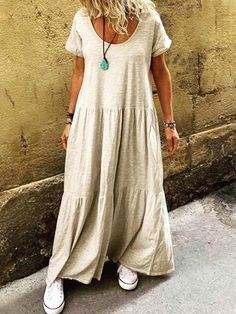 Material: Polyester Silhouette: A-Line Dress Length: Floor-Length Sleeve Length: Short Sleeve Neckline: Round Neck Closure:. Casual Dresses For Summer, Casual Outfits, Summer Maxi, Plain Dress, Looks Plus Size, Vestido Casual, Vestidos Vintage, Ruffle Shorts, Look Fashion