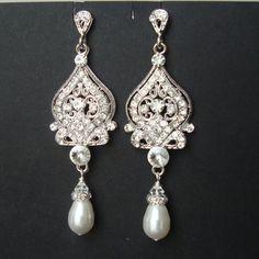 Vintage Wedding Bridal Earrings Ivory White Pearl by luxedeluxe, $59.00
