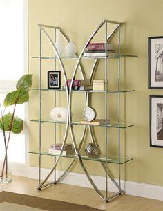Coaster Bookcases X-Motif Chrome Finish Bookshelf with Floating Style Glass Shelves - Coaster Fine Furniture Glass Bookshelves, 4 Shelf Bookcase, Metal Bookcase, Etagere Bookcase, Metal Shelves, Bookcases, Steel Bookshelf, Bookshelf Storage, Wall Shelving