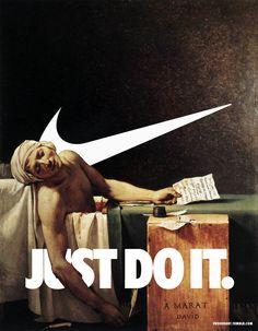 A logomarca da Nike mesclada a pinturas clássicas da história da arte