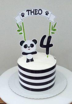 50 Ideias para Festa Panda Panda Birthday Cake, 1st Birthday Cakes, Birthday Cake Toppers, Bolo Panda, Bolos Naked Cake, Panda Decorations, Panda Baby Showers, Panda Bebe, Panda Painting