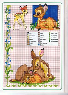 Bambi with Mother cross stitch pattern. Disney Cross Stitch Patterns, Cross Stitch For Kids, Cross Stitch Baby, Cross Stitch Animals, Counted Cross Stitch Patterns, Cross Stitch Charts, Cross Stitch Designs, Cross Stitch Embroidery, Embroidery Patterns
