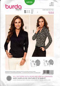 Burda Style 6838 Womens Stretch Wrap Tops Sewing Pattern Sizes 10 - 20 UNCUT Factory Folds