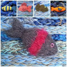 Fantasy Fish Knitting Patterns Suggested yarn - double knitting and (size 8 imperial) needles or smaller needles for a t ighter k. Community Art, Fundraising, Knitting Patterns, Art Projects, Fish, Fantasy, Stitch, Detail, How To Make