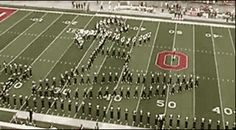 Ohio Buckeye band does maybe the coolest halftime show ever.  Hang 10!