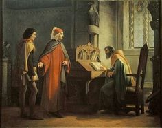 Juan Mochi  (1831–1892) Dante (1265-1321) presenting Giotto (1266-1337) to Guido da Polenta (d.1310)  Italiano: Dante Alighieri in atto di presentare Giotto a Guido da Polenta  Date19th centuryMediumoil on panelDimension 108 × 84.5 cm (42.5 × 33.3 in)Current locationCasa di Dante, Firenze or  Galleria d'Arte Moderna, Florence