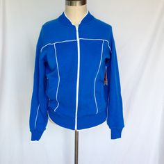 NEW Vintage Blue + White Zip up Track Jacket / Unisex Adult Small by TheHighwayThrifters on Etsy #1970s #retro #trackjacket now up #forsale in our #etsyvintage shop #thehighwaythrifters! #blue and #white #deadstock #athletic #jacket by #jumpinjax #newwithtags #newvintage #smallvintage #menssmall #womenssmall #gooddeal #onlinethrifting #thriftingonline #shopmycloset #shopsmall #etsy #retrolover #workitgirl #workitout #workit #fitness #fitnesslover #ootd