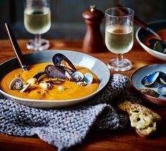 This soup recipe celebrates seafood in all its glory. Luscious mussels and clams, cooked in white wine, finished with croutons and garlic mayonaise
