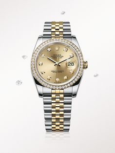 The Rolex Datejust 36 in Rolesor, a combination of steel and yellow gold, with diamond-set champagne-colour dial and Jubilee bracelet.
