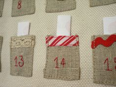 Advent Calendar - fill each pocket with something fun to do together each day Felt Advent Calendar, Advent Calenders, Christmas Sewing, Christmas Holidays, Christmas Decorations, Christmas Ideas, Xmas, Crochet Tutorial, Embroidered Paper