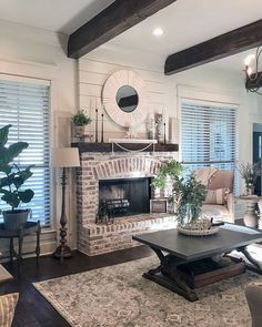 81 Awesome Farmhouse Fireplace Design Ideas To Beautify Your Living Room – Farmhouse Room Home Fireplace, Fireplace Design, Fireplace In Dining Room, Fireplace Ideas, Brick Fireplace Makeover, Brick Fireplace Decor, White Wash Brick Fireplace, Brick Hearth, Rustic Fireplace Mantels