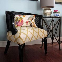 makeover cane chairs and tutorial, painted furniture, After Cane chairs painted glossy black and reupholstered with a modern geometric fabric