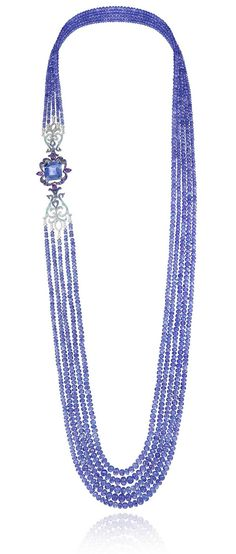 Chopard Temptations necklace featuring tanzanite beads, diamonds, sapphires and amethysts all set in white gold.