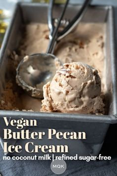 Wholesome, creamy, and rich vegan pecan ice cream thickened with oats and free from refined sugar. #oatmilkicecream #veganicecream Healthy Vegan Desserts, Vegan Dessert Recipes, Delicious Vegan Recipes, Vegan Sweets, Vegan Snacks, Healthy Recipes, Vegan Party Food, Vegan Food, Sugar Free Ice Cream